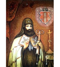 Святитель Петро (Могила) - ікона з янтаря (ар-290)