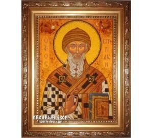 Святитель Спиридон Триміфунтський - красива ікона з бурштину ручної роботи (ар-195)