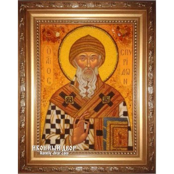 Святитель Спиридон Тримифунтский - красивая икона из янтаря ручной работы (ар-195)