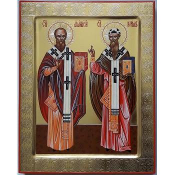 Святители Афанасий и Кирилл, архиепископы Александрийские - писаная икона (ВЧ-09)