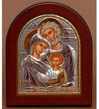 Святое Семейство - Греческая икона в качественной арочной рамке из дерева (EK015)