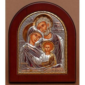 Святе Сімейство - Грецька ікона якісної арочної рамці з дерева (EK015)