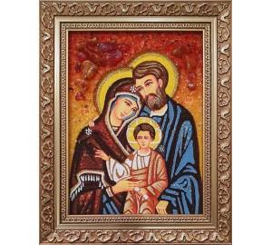 Святе Сімейство - ікона з янтаря (ар-277)