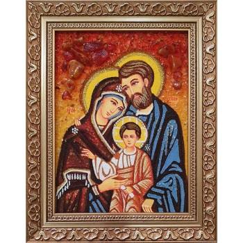 Святое Семейство - икона из янтаря (ар-277)