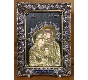 Святе Сімейство - ікона з сріблом та позолотою (Ос-С33)