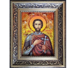 Святой Александр Невский - икона с янтарем (ар-372)