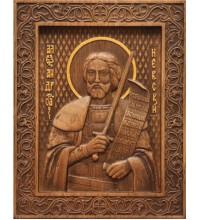 Святой Александр Невский - резная икона из натурального дерева (р-24)