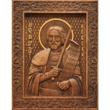 Святий Олександр Невський - різьблена ікона з натурального дерева (р-24)