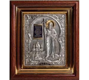 Святой Апостол Андрей Первозванный - икона с серебром и позолотой в дубовом киоте (юл-16)