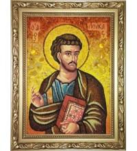 Святой апостол и евангелист Лука - икона с янтарем, ручная работа (ар-305)
