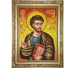 Святий апостол і євангеліст Лука - ікона з бурштином, ручна робота (ар-305)