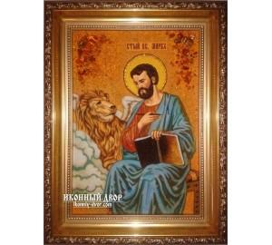 Святой апостол и евангелист Марк - Именная икона из янтаря (ар-168)