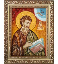 Святой апостол Матфей - янтарная икона (ар-333)