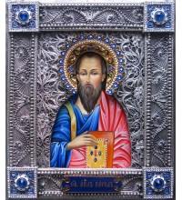 Святой апостол Павел - писаная икона в окладе с серебром (Гр-102)