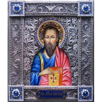 Святий апостол Павло - ікона писана в окладі з сріблом (Гр-102)
