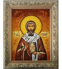 Святой апостол Стахий - икона из янтаря (ар-88)