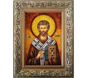 Святой апостол Тимофей - икона с янтарем, ручная работа (ар-76)