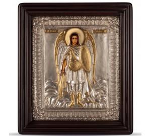 Святой Архангел Михаил - Писаная икона в серебряном окладе (хм-32)