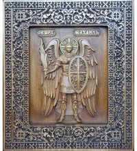 Святой Архангел Михаил - резная икона, из натурального дерева (р-31)