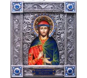 Святой благоверный князь Борис - писаная икона в окладе с серебром (Гр-101)