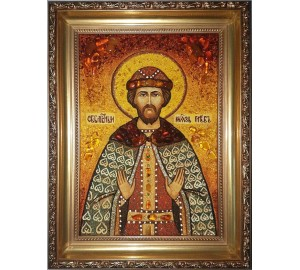 Святой благоверный князь Глеб - янтарная икона (ар-320)