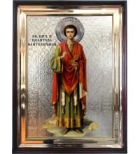Святий цілитель Пантелеймон - ікона у дерев'яному кіоті під склом (л-03)