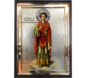 Святой целитель Пантелеймон - икона в деревянном киоте под стеклом (л-03)