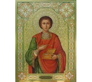 Святой целитель Пантелеймон - писаная икона (Дм-20)