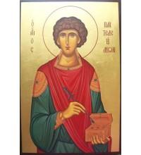 Святой целитель Пантелеймон - писаная икона (Гр-63)