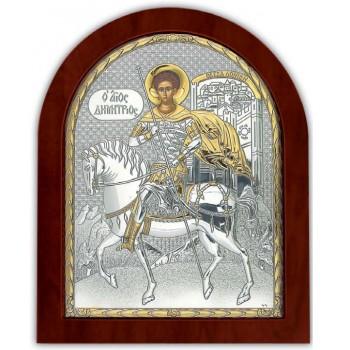 Святой Дмитрий Солунский - Икона арочной формы с серебром и позолотой (EK014XAG)