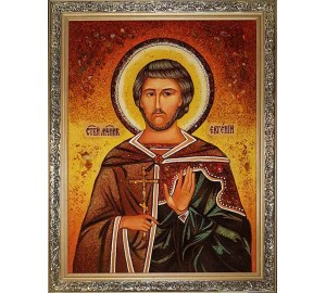 Святой Евгений Севастийский - именная икона из янтаря, 60*80 см (ар-99)