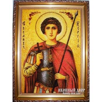 Святой Георгий - Икона из янтаря, ручной работы (ар-18)