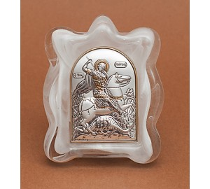 Святой Георгий - Икона в муранском стекле, с серебром и позолотой (EK1MAG Георгий)
