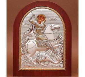 Святой Георгий Победоносец - Греческая икона с серебром и позолотой (GOLD)
