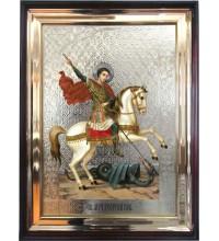 Святой Георгий Победоносец - храмовая икона в деревянном киоте под стеклом (л-04)