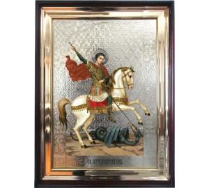 Святий Георгій Побідоносець - храмова ікона у дерев'яному кіоті під склом (л-04)