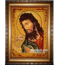 Святой Иоанн Креститель, Предтеча - Качественная икона из янтаря, ручная работа (ар-38)
