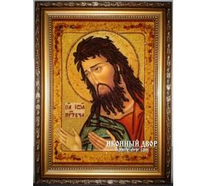 Святий Іоанн Хреститель, Предтеча - Якісна ікона з бурштина, ручна робота (ар-38)