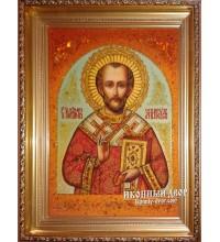 Святой Иоанн Златоуст - Бесподобная янтарная икона ручной работы (ар-114)