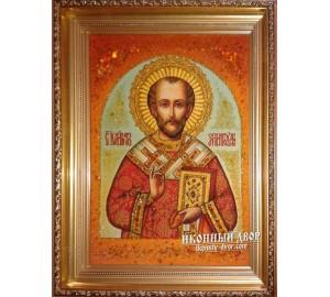 Святий Іоанн Златоуст - Незрівнянна янтарна ікона ручної роботи (ар-114)