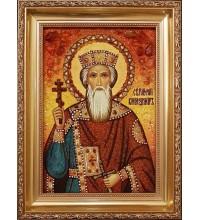 Святой Князь Владимир Равноапостольный - икона из янтаря (ар-215)