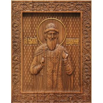 Святой Князь Владимир - резная икона из натурального дерева (р-25)