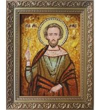 Святой Леонид - именная икона с янтарем (ар-312)
