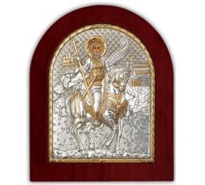 Святий Мінас - Ікона в дерев'яній арочної рамці, Греція (GOLD)