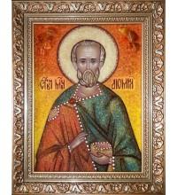 Святой мученик Диомид - икона из янтаря (ар-291)