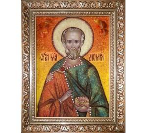 Святий мученик Діомід - ікона з янтаря (ар-291)