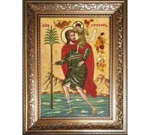 Святой мученик Христофор - икона из янтаря (ар-387)