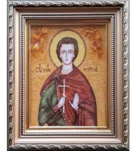 Святий мученик Мирослав - ікона з янтаря, ручна робота (ар-265)
