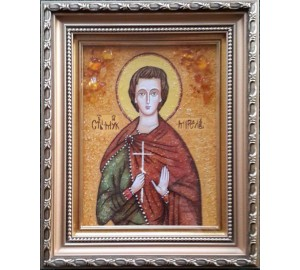 Святой мученик Мирослав - икона из янтаря, ручная работа (ар-265)