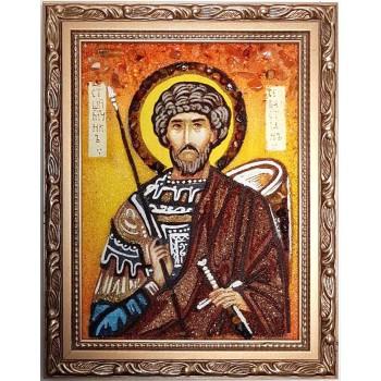 Святой мученик Севастиан Римский - янтарная икона ручной работы (ар-352)